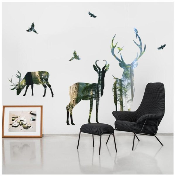 Designer Wall Stickers Creative Forest Deer Living Room Decorative Wall Stickers Environmentally Friendly Removable Wall Stickers