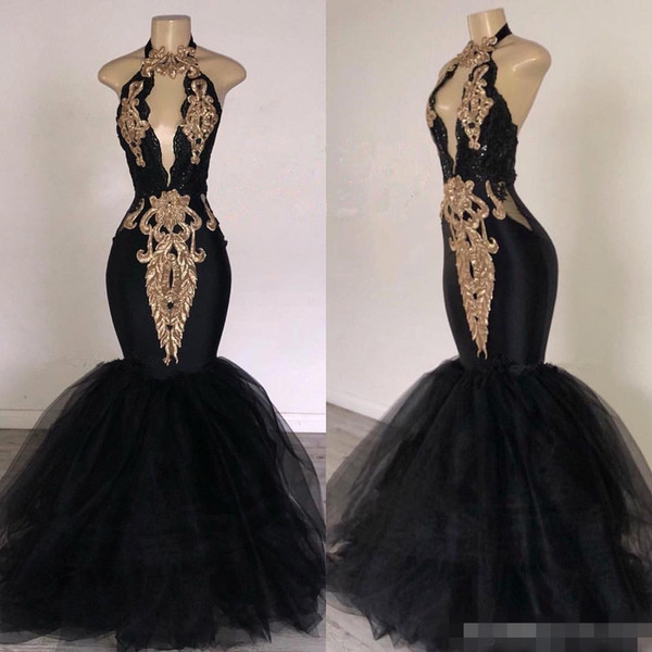 Sexy Black Halter Long Evening Dresses Pluning Mermaid 2019 Tulle Gold Applique Embroidery Formal Occasionn Wear Prom Party Ball Gown