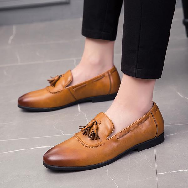 Плюс размер мужские повседневные банкетные платья мягкие кожаные туфли слип-ленивые вождения кисточки обуви дышащие летние туфли мужские