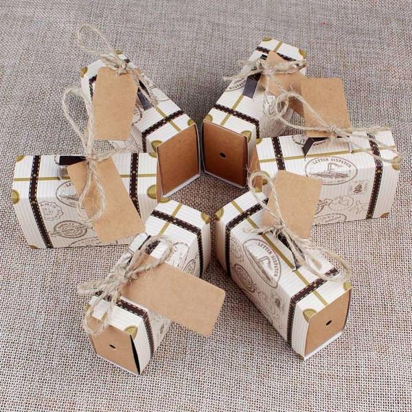 Avrupa Bavul Şeker Kutusu Düğün Kart çuval bezi Doğum Olay Parti Tedarikçi 10pcs ile Seyahat Kağıt Hediyelik Kutular Yana