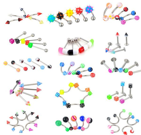 21pics/set Colorful Steel Belly Button Piercings Ear Studs Segment Ring Nose Ring Lip Eyebrow Piercings Industrial Barbell Sexy Body Jewelry
