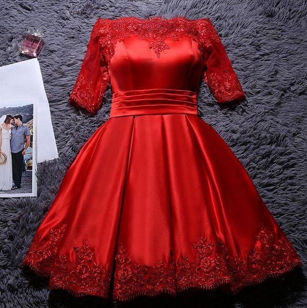 Red Aso Ebi Style African Cocktail Dresses Half Sleeve Prom Dress Gown Party Gowns Club Wear Knee-Length Corset Back Evening Dress
