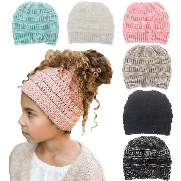 Weihnachtsgeschenk Kinder Beanies Cap Pony Tail Caps Mädchen Hüte Mädchen Winter Warme Mütze Kinder Woolen Strickmützen Casual Kopfbedeckungen