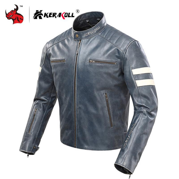 KERAKOLL Motorcycle Jacket Men Classique Retro Veste en cuir Moto coupe-vent amovible Doublure Jaqueta Motociclista CE Protect