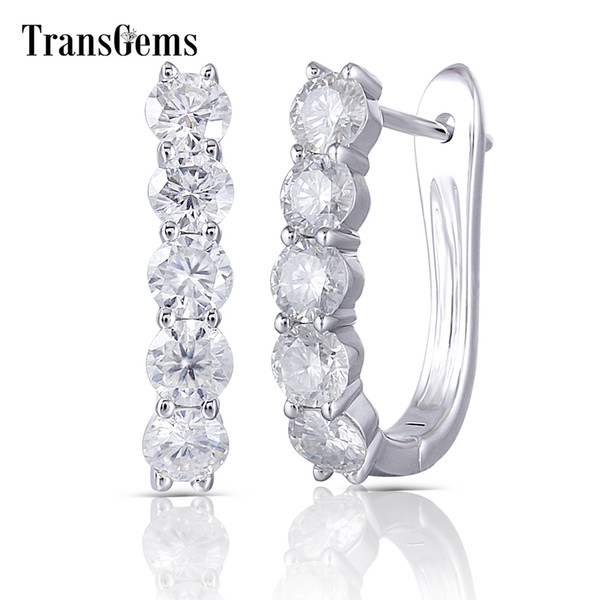 Transgems Sterling Silver Hoop Earrings 3.5mm Gh Color Clear Moissanite Huggie Earrings U Shaped Platinum Plated Silver Earrings J 190427