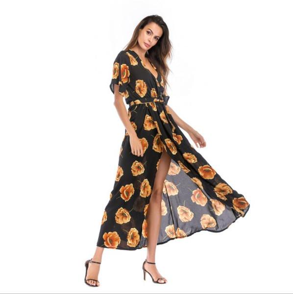 Summer Dresses Womens Holiday Designer Dresses Short Sleeve Ladies Maxi Print Skirts New Fashion Beach Dress 10 Colors S-XL Wholesale