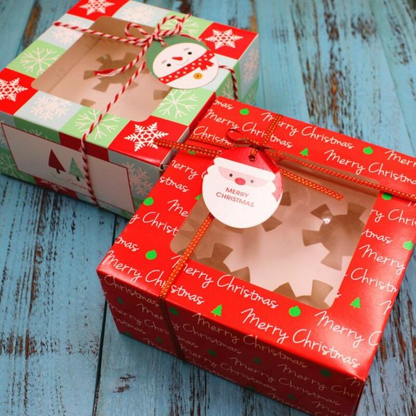 Christmas cake box 4 grain of glass packing box cupcake nougat chocolate gift packaging christmas decorations for home