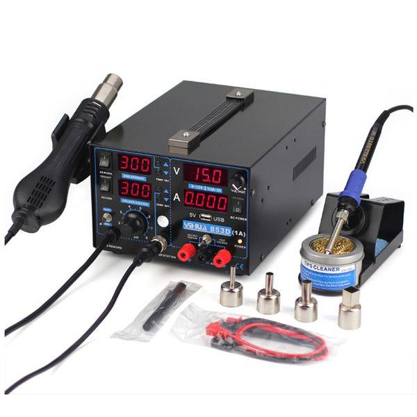 Припой станция 15V 1A Цифровой дисплей тепловой пушки Триада Электрическая воздуходувка фена паяльник USB SMD источник питания постоянного тока Rework