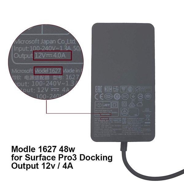 New 48-Watt AC Adapter for Microsoft Surface Pro 3 Docking Station . Model 1627 12V 4A Laptop Notebook Power Transformer with AC Power Cord