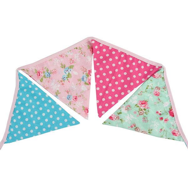 Floral Fabric Cotton Bunting Pennant Banner Flag for Wedding Birthday Nursery Baby Shower Decorations (Cute Floral 10.8 ft)