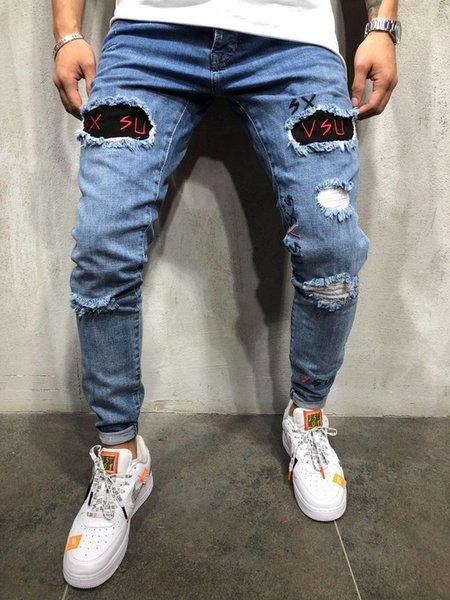 Erkek Tasarımcı Yıkanmış Delik Kot Yaz Bahar Sıska Nakış Mektup Mavi Kalem Pantolon Hiphop Sokak Kot