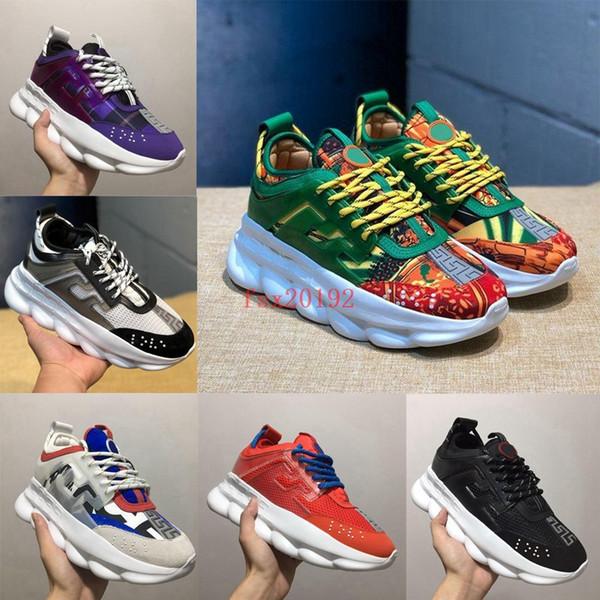 2019 Versace Yeni Zincir Reaksiyon Rahat Tasarımcı Sneakers Spor Moda Rahat Ayakkabılar Eğitmen Erkekler Kadınlar Için Hafif Link-Kabartmalı Taban