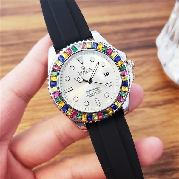 Mens relógios de luxo mulheres relógios preto cor branca pulseira de Silicone relógio de Pulso Original importado movimento de quartzo relógio automático top quality
