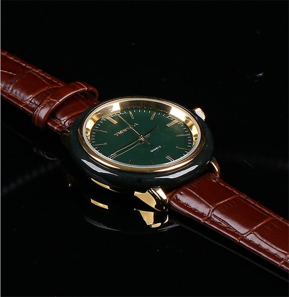 Personnalité créative romantique Couple Montres Montre Femme Horloge Femme Montres Homme Quartz Bracelet en cuir jade Montre populaire
