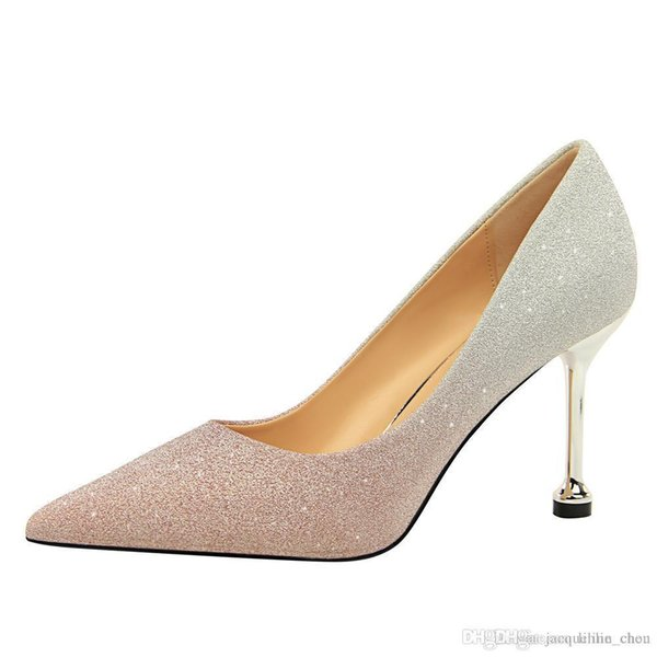 Lucky2019 8.5cm Pointed Toe Women Thin Bling Sequins Wedding Shoes Color Matching Heels For Sale 0755-1
