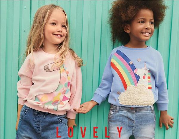 top popular Girl kids clothing Long sleeve shirt O-neck Cartoon Dinosaur Design Shirt Spring Fall Girl TOP 100% cotton Clothing 2021