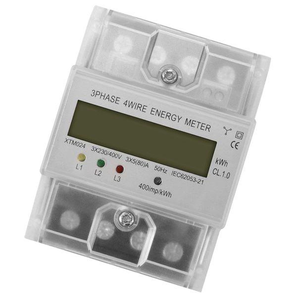 Freeshipping Dijital Lcd 50Hz 5 (80) Bir 3X230 V / 400 V Enerji Ölçer 3-Phase 4-Wire Din Raylı Elektrik Güç Doğru