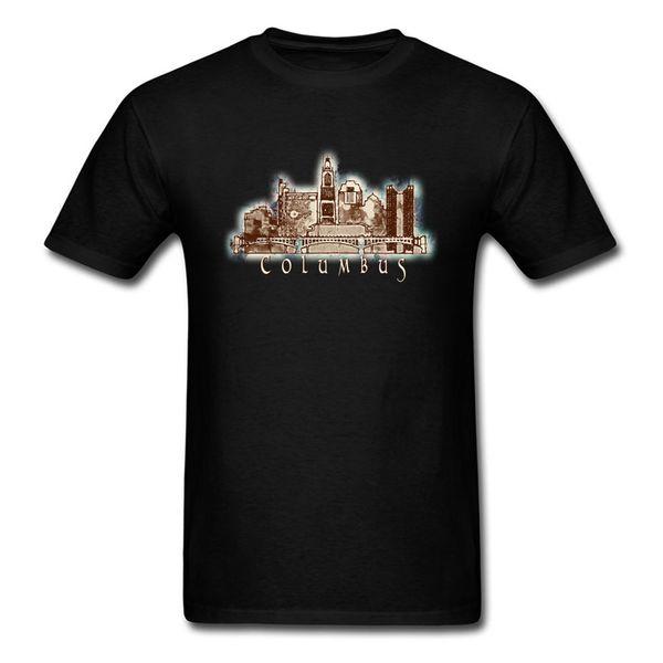 Summer T Shirts Columbus Tshirt Men City Ohio Skyline Graphic T-shirt Retro Vintage Clothing Casual Style Tops Tees Cotton