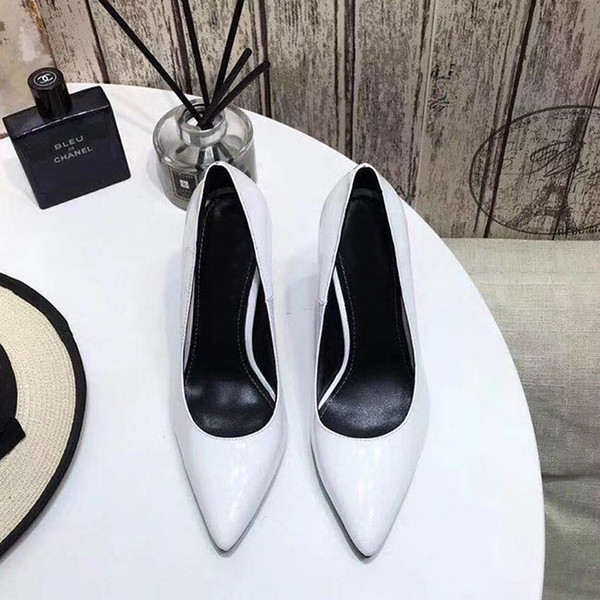 European designer classic high-heeled heels women shoes patent leather pointed toe pumps shoes free shipping size 35-41 letter heels Heel 1