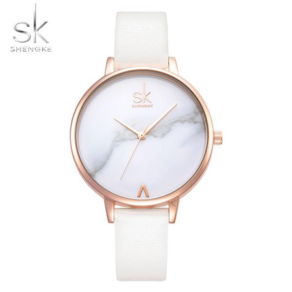 Shengke Top Brand Fashion Ladies Watches Leather Female Quartz Watch Women Thin Casual Strap Watch Reloj Mujer Marble Dial SkSH190724