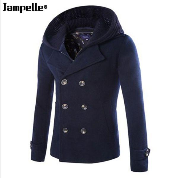 Высококачественный новый бренд моды-одежда куртка мужчины шерсть пальто двубортный горох пальто мужчины длинные полушерстяные зимние пальто мужчины