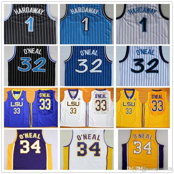 best selling Cheap Men's Penny 1 Hardaway Jersey Black White Blue Shaquille 32 O'Neal Shaq Uniform Stitched 34 Shaquille O Neal College Jersey