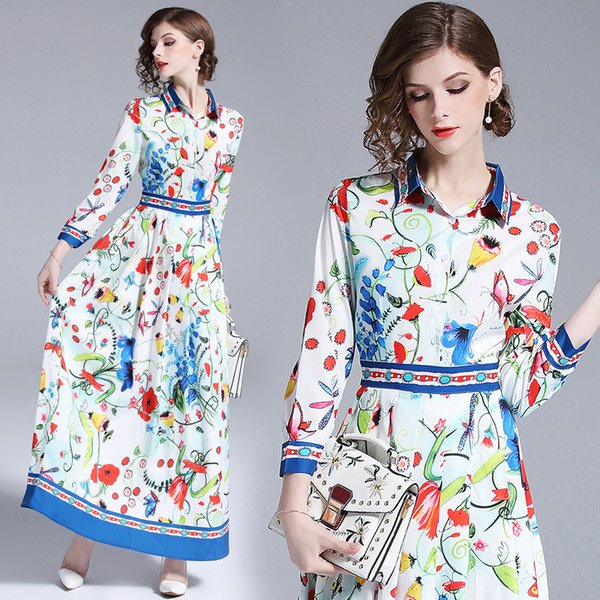 Latest Summer Fall Women's Floral Print Collar Long Sleeve Shirt Pleated Dresses Ladies Plus Size Turn Down Neck Slim Casual Dress