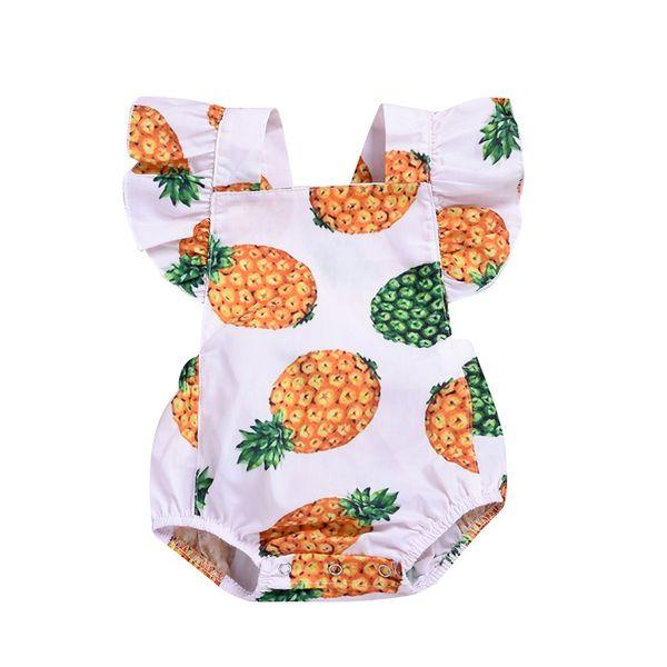 Rendas Verão Romper Do Bebê Da Criança Meninas Voar Manga Macacão Set + abacaxi Imprimir macacões recém-nascidos onesies infantil