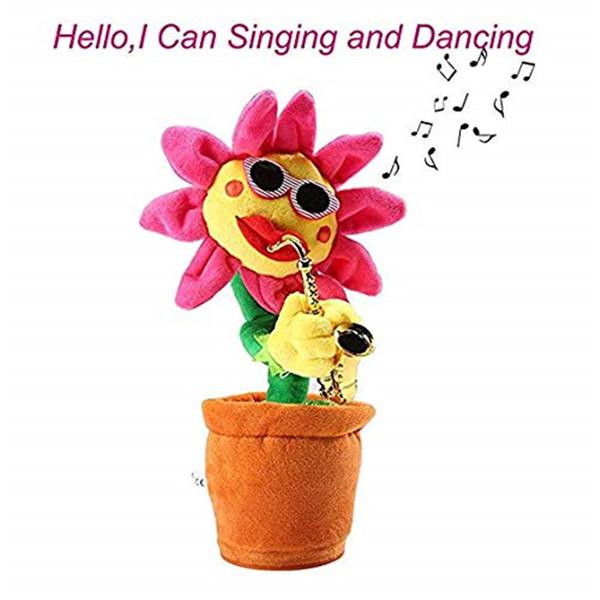 Saxophone Sunflower Plush Electric Toys Singing and Dancing Sunflower Dancing Flower Doll Funny Sunglasses Sunflower for Kids Children