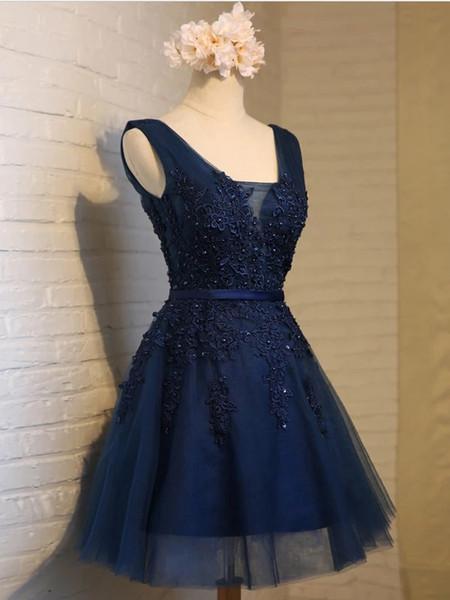 Derin V Yaka Kolsuz Kısa Gelinlik Modelleri Gümrükleme Dantel Aplike Sequins Lacivert Kokteyl Elbise A-Line Korse Homecoming Elbise Fikirleri