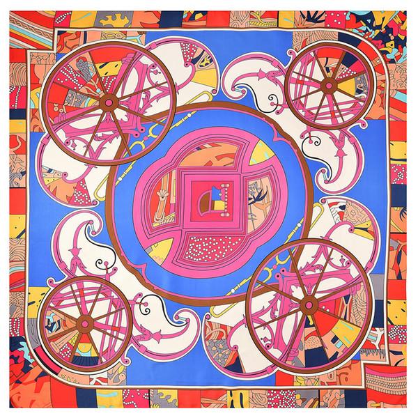 lujo- Vintage Square Print Silk Scarf para Mujer Twill H Shawls Foulard Femme Carriage Pattern Bufandas grandes al por mayor 130 * 130