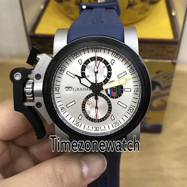 Chronofighter Oversize Commander 20VATCO Two Tone Black Bezel Silver Dial Quartz Chronograph Mens Watch Stopwatch Blue Rubber Watches GHM7c3