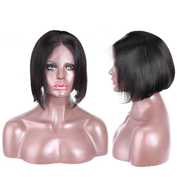 Women's on sale new arrival remy virgin human hair short bob natural color natural straight full lace wig for lady