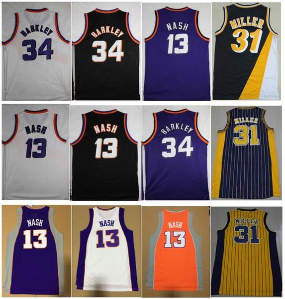 best selling Best Quality Vintage 13# Steve Nash Jersey 34# Charles Barkley Jersey 31# Reggie Miller Spud #4 Webb Dominique #21 Wilkins Jerseys RED S-XXL