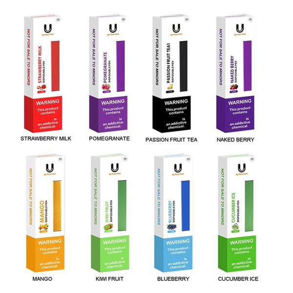 Mejor sabor E-liquid Uptowntech Pluma desechable Vape 280mAh Batería 1.3ml Cartucho de tanque 8 sabores Kit portátil de sal de jugo de Nic Juice Vape