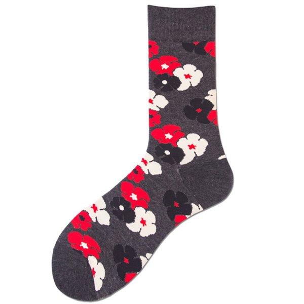 Waschbar Mittelrohr Socken Blumen Blätter gedruckt Baumwollmischung Stretch Maschine Strumpfwaren Liebhaber Socken