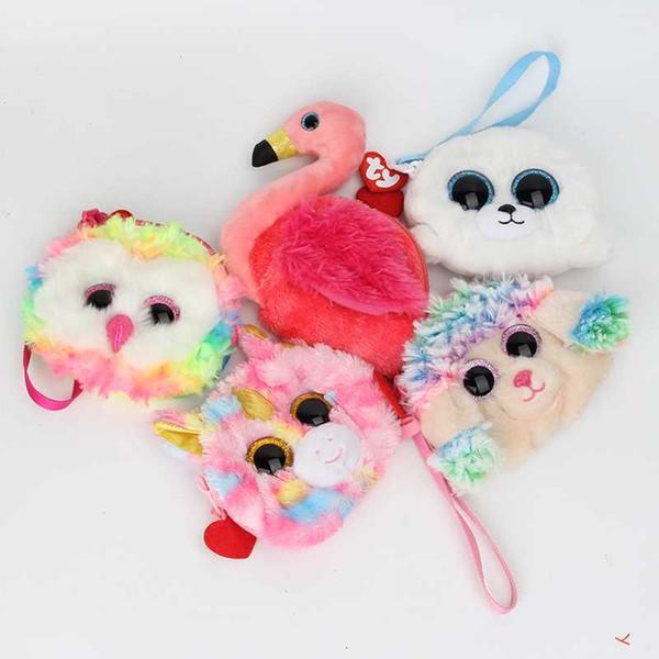 Ты Каваи плюшевые игрушки подарок хранения денег кошельки женщины мини-чучела животных сова единорог плюшевые монета портмоне изменение сумка дети кошелек