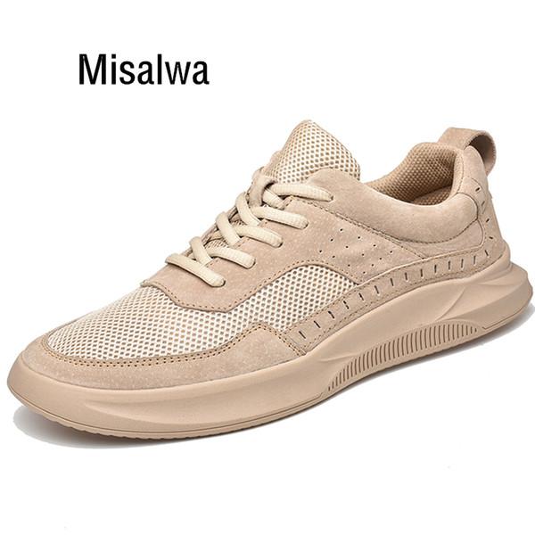 Misalwa Verano / Otoño Hombre Zapatillas de deporte de diseño Mocasines de hombres ocasionales Zapatillas de skate Zapatos Gris Arena Blanco Calzado para hombre