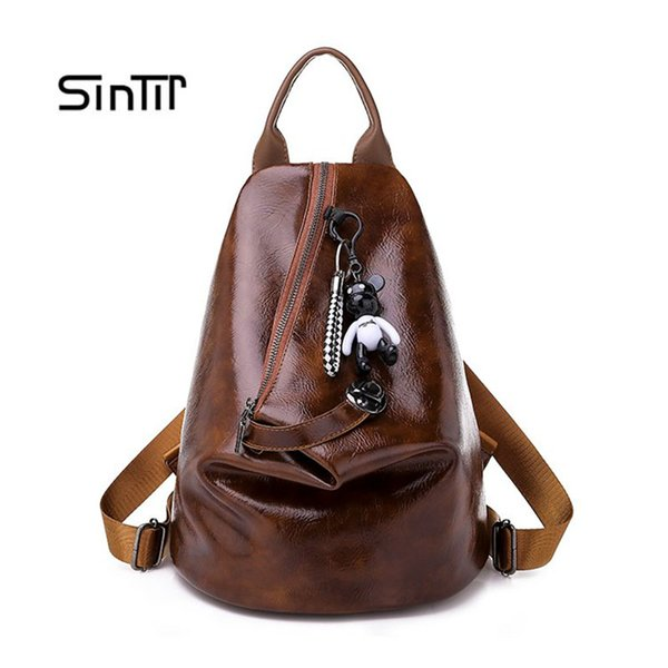 Women's Small Korean Backpack Fashion College School Backpacks PU Leather Girls Schoolbag Casual Ladies Bagback Free Gifts Bear