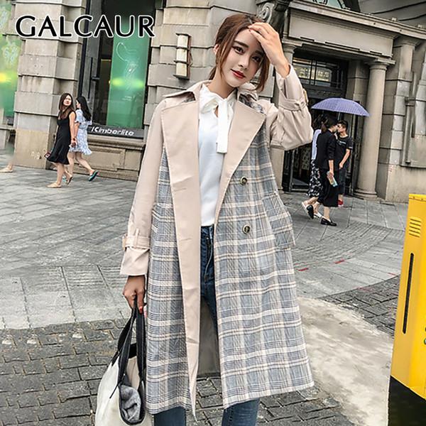 GALCAUR Patchwork Xadrez Trench Coat Feminino Longo Manga Dupla Breasted Blusão Casacos Mulheres 2019 Outono Novo