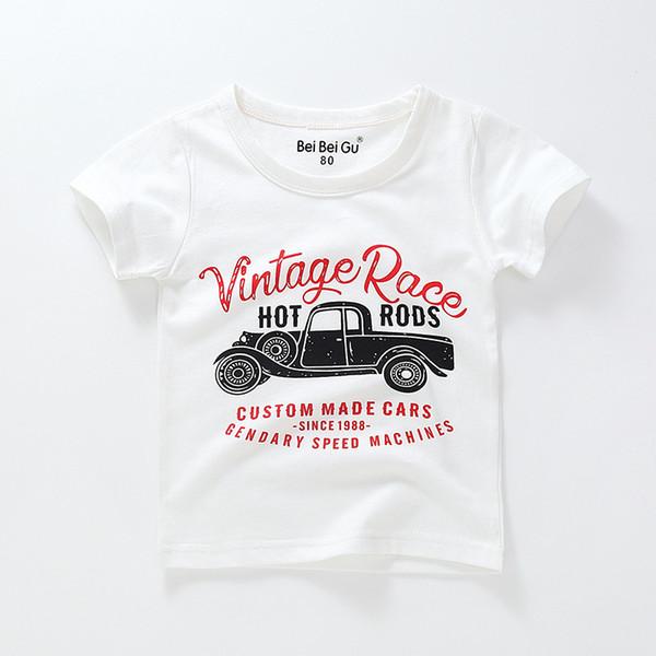 New children's t-shirt short sleeve summer cotton cartoon car print boy half sleeve ins children's wear Short sleeve t-shirt