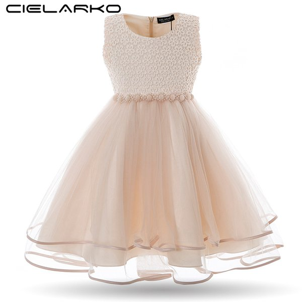 Cielarko Girls Dress Mesh Pearls Children Wedding Party Dresses Kids Evening Ball Gowns Formal Baby Frocks Clothes For Girl J190505