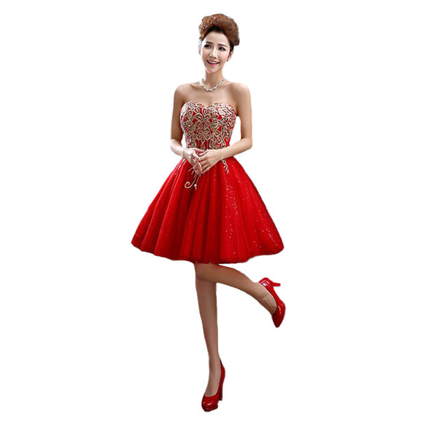 Rose Gold Sequin Bridesmaid Dresses 2016 Fashion Strapless Gold Thread Embroidery Slim Short Wedding Party Dress Vestidos