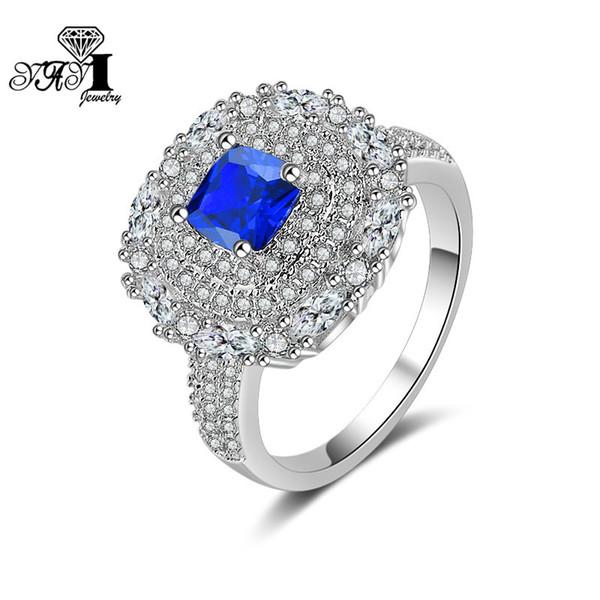 YaYI Schmuck Princess Cut 6.2CT Blau Zirkon Silber Gefüllt Verlobungsringe hochzeit Herz Ringe Valentinstag Mädchen ring 1144