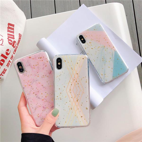 Funda de teléfono de lujo de mármol de oro para iPhone X XS MAX XR 8 7 6 6 s Plus Celular Bulk Sparkle Rhinestone Soft Cover 100pcs