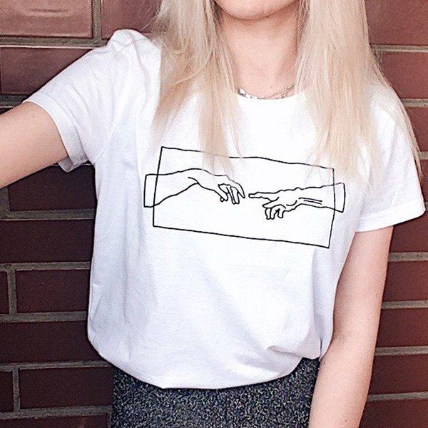 Kadın Giysileri 2019 Yeni Harajuku Moda Baskılı Tshirt Estetik Sanat Tumblr T Gömlek Siyah Beyaz Grafik T Shirt Tee Gömlek Femme
