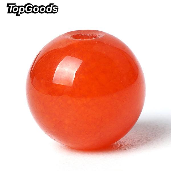 TopGoods Natur Jasper Perlen-runde lose Orange Rot-Jade-Stein-Korn-6/8/10 mm 15