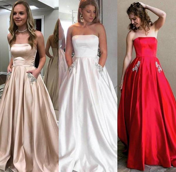 Bustier Simple Une Ligne Robes De Mariée avec Poches Longueur De Plancher Genereuse Robe De Mariée Robe de Mariée