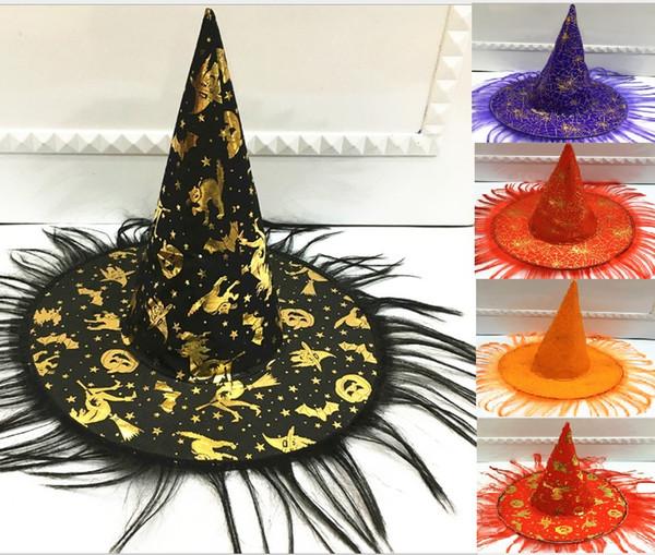 600 adet Cadılar Bayramı Cadı Kap Parti Cosplay Prop Peruk Cadı Şapka Cadılar Bayramı Ürünleri Cos Masquerade Gösterisi Giyinmek Cadı Büyücü Şapka Kabak kap