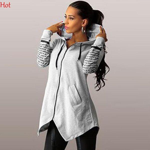 Design Spring Autumn Women Sweatshirt Letters Printed Zip Up Hooded Cardigan Black Grey Irregular Outerwear Back Split Hoodies Plus SV028977